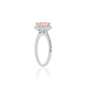 18ct White Gold Amelia Morganite Diamond Halo Ring