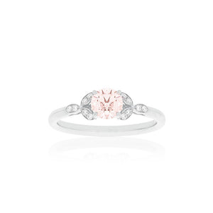 18ct White Gold Poppy Morganite Diamond Ring