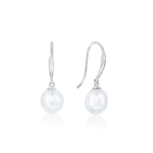 9ct White Gold Naya FWP Pearl Drop Earring