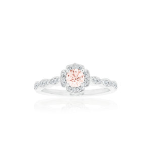 18ct White Gold Rosalia Morganite Diamond Ring