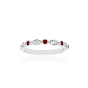 18ct White Gold Olivia Diamond Ruby Band