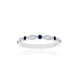 18ct White Gold Olivia Diamond Sapphire Band