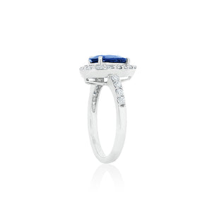 18ct White Gold Sapphire (Pear) Diamond Ring