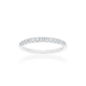 18ct White Gold Victorine Diamond Band 13D=.28ct