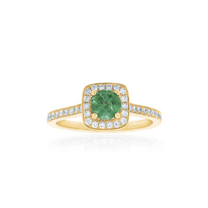 18ct Yellow Gold Amira Emerald Diamond Ring