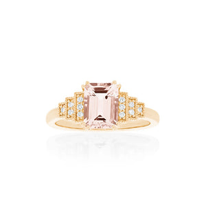 18ct Gold Astra Morganite Diamond Ring