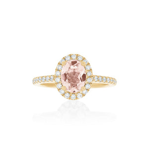 18ct Gold Amelia Morganite Diamond Halo Ring