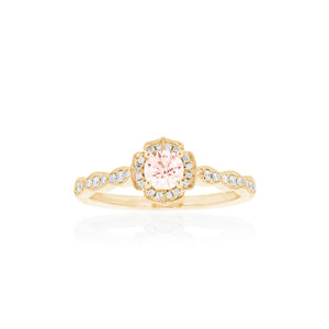 18ct Gold Rosalia Morganite & Diamond Ring