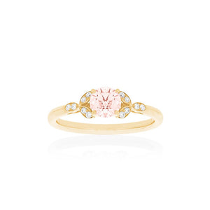 18ct Gold Poppy Morganite Diamond Ring