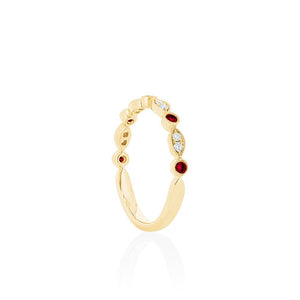 18ct Yellow Gold Olivia Diamond Ruby Band