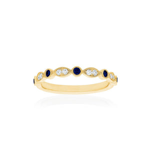 18ct Yellow Gold Olivia Diamond Sapphire Band