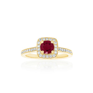 18ct Yellow Gold Amira Ruby Diamond Ring