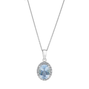18ct White Gold Aquamarine Diamond Halo Pendant