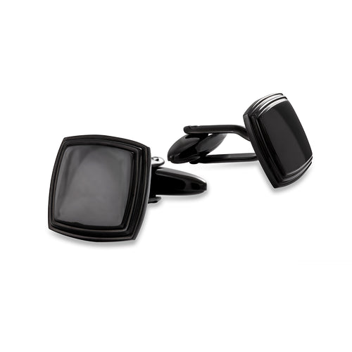 Stainless Steel Black Plain Cufflinks