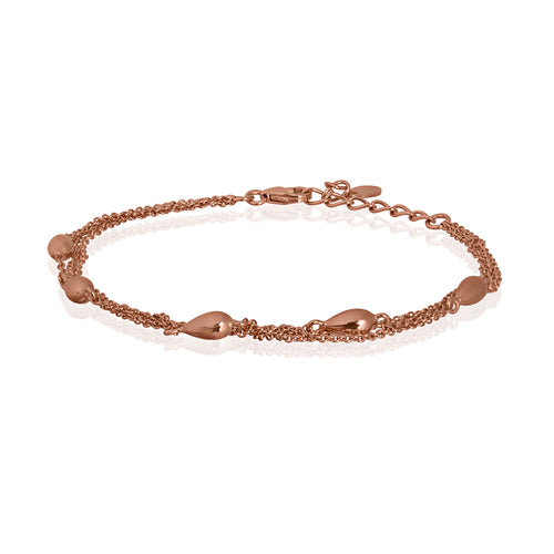 Silver and Rose Gold Plated Multi Chain Droplet Bracelet