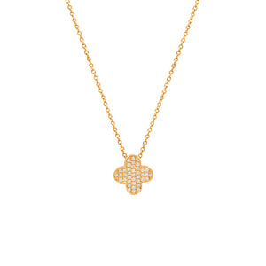 9ct Yellow Gold Clover Diamond Pendant