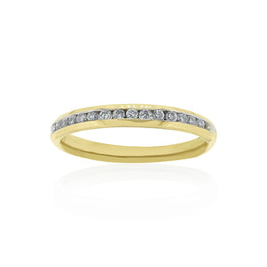 9ct Yellow Gold Diamond Channel Set Ring