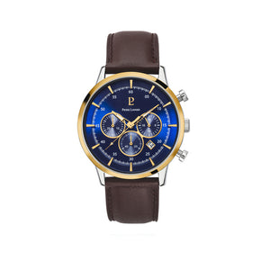 Capital Chronograph Gold Blue Brown Leather 43mm