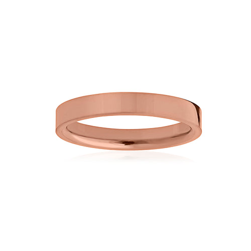 9ct Rose Gold Flat Band 3mm