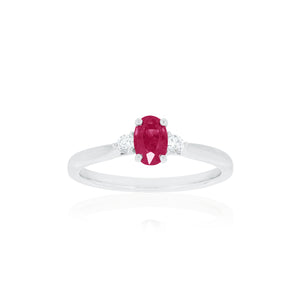18ct White Gold Ella Ruby Diamond Ring