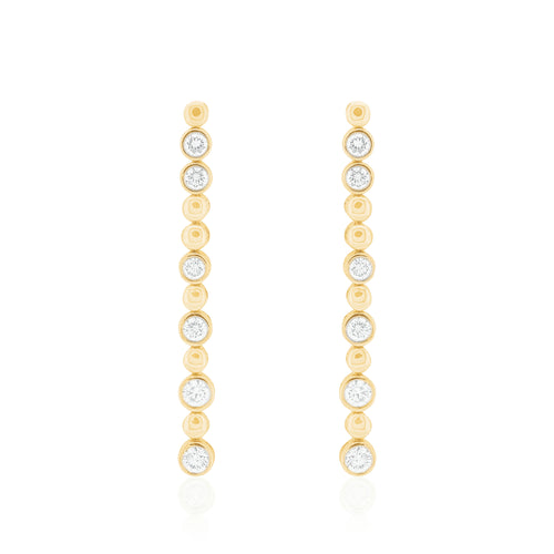 18ct Yellow Gold Droplet Diamond Earrings