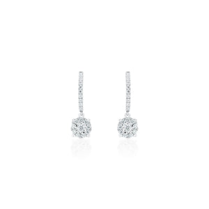 18ct White Gold Cluster Drop Huggie Hoop Earrings