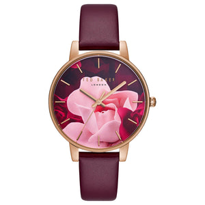 Red Floral Face Rose Gold Leather Watch