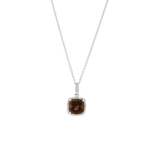 9ct White Gold Smokey Quartz Diamond Pendant