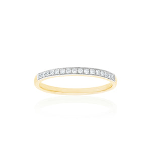 18ct Yellow Gold Vera Diamond Band 16D=.16ct
