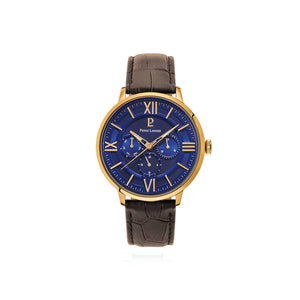 Beaucour Gold Blue Brown Croc Leather 42mm Watch
