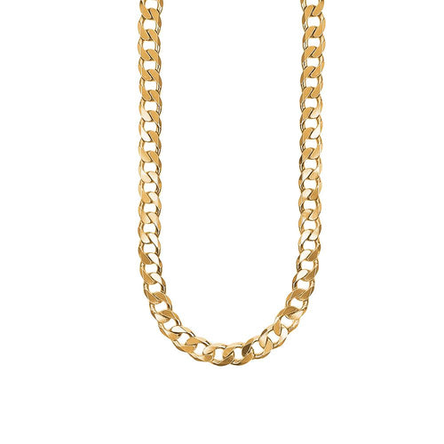 9ct Yellow Gold Thick Flat Bevel Curb Chain Necklace