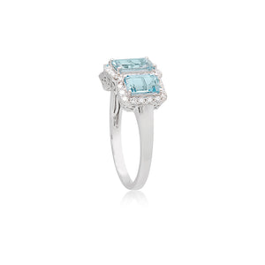 18ct White Gold Trilogy Aquamarine Diamond Ring