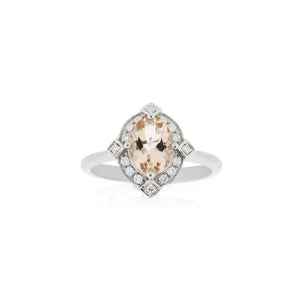18ct White Gold Marley Morganite Diamond Ring