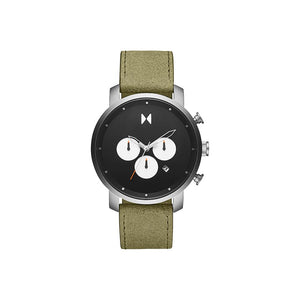 Rugged Green Leather Men's Watch