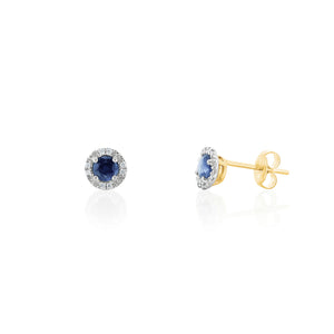 9ct Gold Nola Diamond Stud Earrings - Sapphire