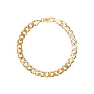9ct Yellow Gold Flat Bevel Curb Bracelet
