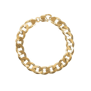 9ct Yellow Gold Flat Bevel Curb Thick Bracelet