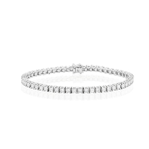 18ct White Gold Diamond Tennis Bracelet 5.33ct