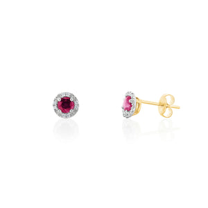 9ct Gold Nola Diamond Stud Earrings - Ruby