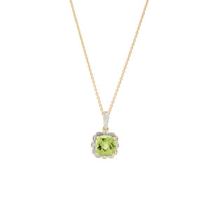 9ct Yellow Gold Peridot Diamond Pendant