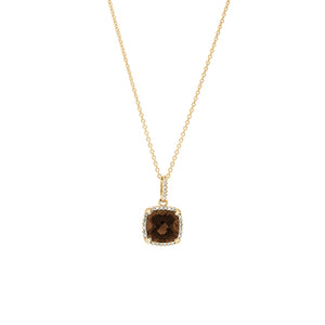 9ct Yellow Gold Smokey Quartz Diamond Pendant