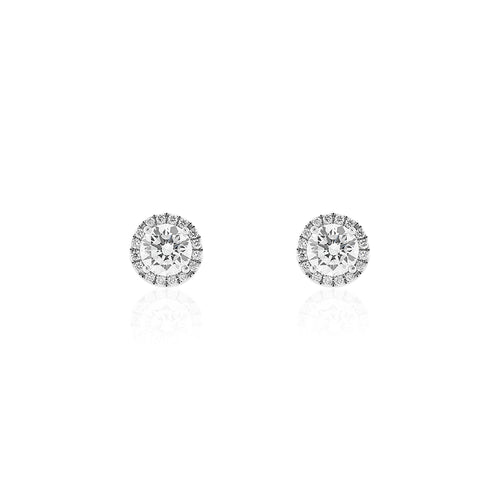 18ct White Gold Diamond Halo Stud Earrings