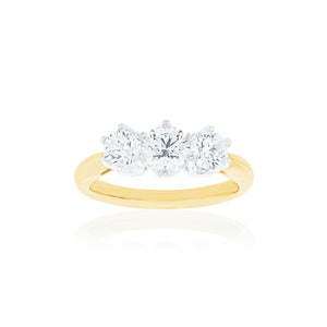18ct Yellow Gold Adeline Diamond Trilogy Ring
