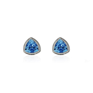9ct White Gold Trinity Stud Earrings - Blue Topaz