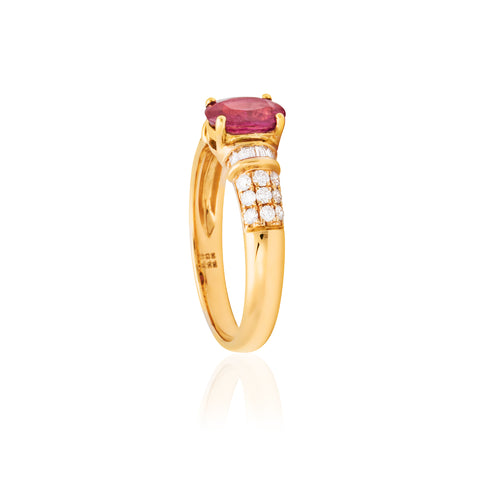 18ct Yellow Gold Ruby Diamond Ring