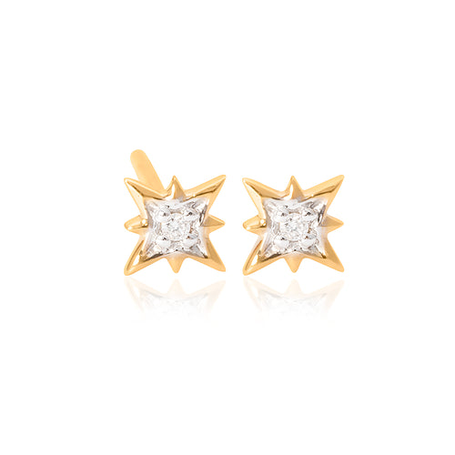 9ct Yellow Gold Mininova Diamond Stud Earring