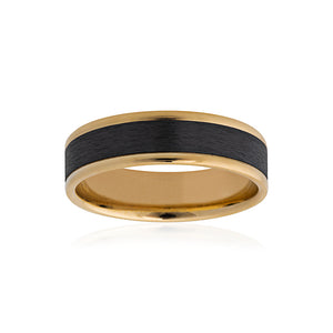 9ct Yellow Gold Black Zirconium Wedder 6mm