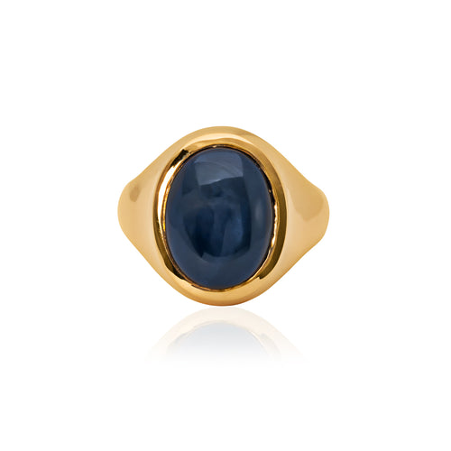 9ct Yellow Gold Star Sapphire Signet Ring