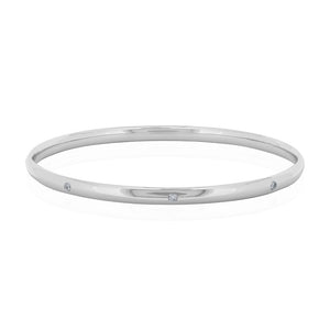 9ct White Gold Droplet Diamond Bangle