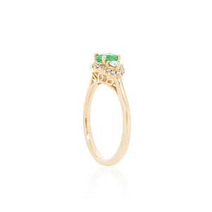 18ct Yellow Gold Emerald Diamond Ring